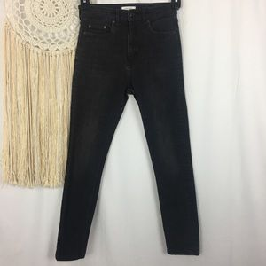 ZARA High Rise Black Fade Skinny Stretch Jeans 4